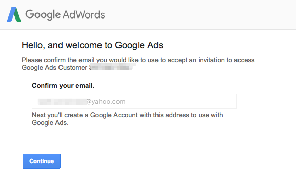 Accessing your new AdWords account without a Gmail account